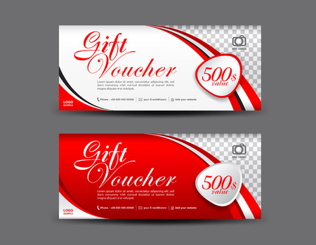 Red Gift Voucher template, coupon design, Gift certificate, ticket template, discount voucher layout  イラスト・ベクター素材