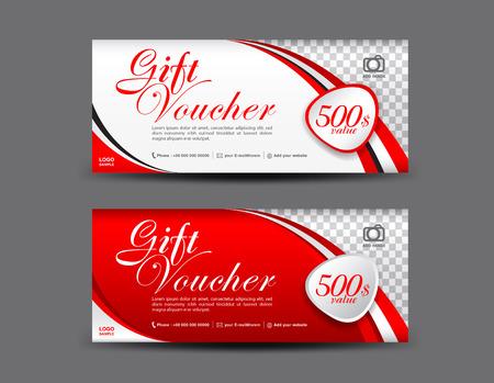 Szablon Red Gift Voucher, wzór kuponu, certyfikat podarunkowy, szablon biletu, układ rabatów rabatowych
