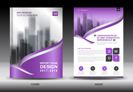 Annual report brochure flyer template, Purple cover design, business flyer template