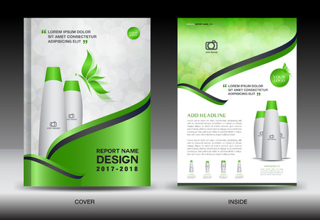 Annual report brochure flyer template, green cover design, cosmetics brochure flyer template, spa flyer copy Illustration