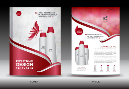 Annual report brochure flyer template, red cover design, cosmetics brochure flyer template, spa flyer Illustration