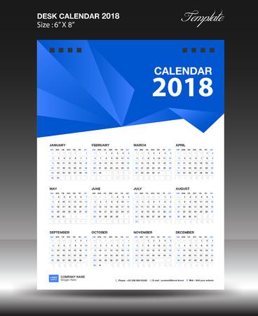 Desk calendar 2018 year Size 6x8 inch vertical, business flyer vecter, blue background