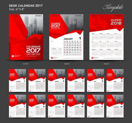 8 12: Set Red Desk Calendar 2017 year size  6 x 8 inch template, Set of 12 Months, Week Starts Monday,  flyer design Illustration