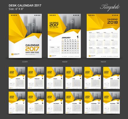 8 12: Set Yellow Desk Calendar 2017 year size  6 x 8 inch template, Set of 12 Months, Week Starts Monday, flyer design Illustration