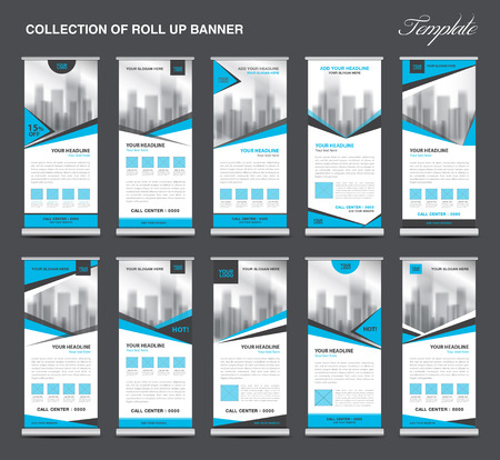 display stand: Collection Blue Roll Up Banner Design stand template, flyers design , advertisement, display layout, x-banner and flag-banner, pull up Illustration