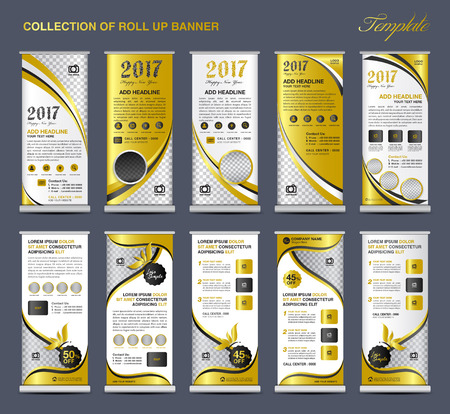 display stand: Collection Gold Roll Up Banner Design stand template, flyers design , advertisement, display layout, x-banner and flag-banner, pull up