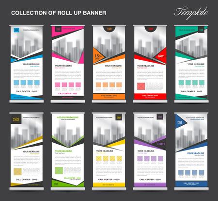 Het verzamelen van Roll Up Banner ontwerp staan sjabloon, flyers ontwerp, reclame, scherm lay-out, trek, x-banner en vlag-banner,