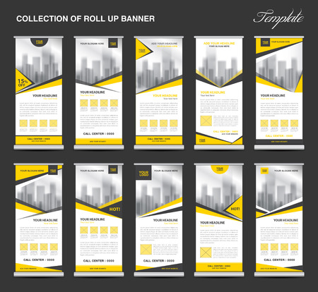 display stand: Collection Yellow Roll Up Banner Design stand template, flyers design , advertisement, display layout, x-banner and flag-banner, pull up Illustration