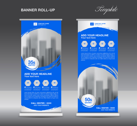 Blue Roll up banner template vector, flyer, advertisement, x-banner, poster, pull up design