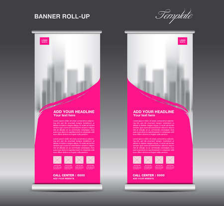pink banner: Pink Roll up banner template vector, flyer, advertisement, x-banner, poster, pull up design Illustration