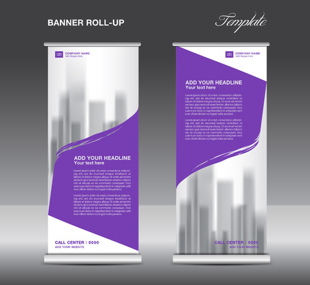 Purple Roll up banner template vector, flyer, advertisement, x-banner, poster, pull up design