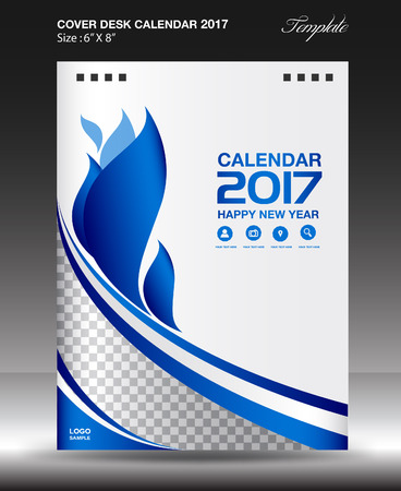 Desk calendar 2017 year Size 6x8 inch vertical, Blue Cover design, Business brochure flyer template, advertisement