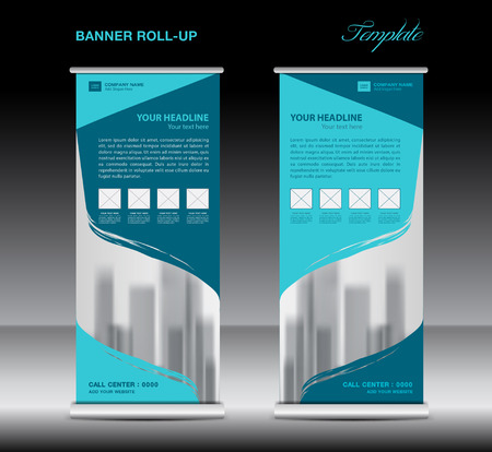 pull: Blue Roll up banner template vector, flyer, advertisement, poster, Display, pull up design