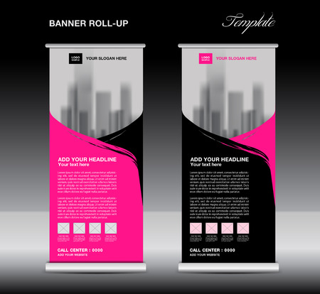 Pink Roll up banner template vector, flyer, advertisement, poster, Display, pull up design