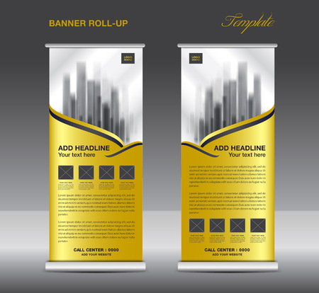 pull: Gold Roll up banner template vector, flyer, advertisement, x-banner, poster, pull up design, display, vector illustration