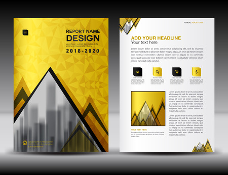 Business brochure flyer template in A4 size, Gold Cover design, Annual report, magazine ads, r