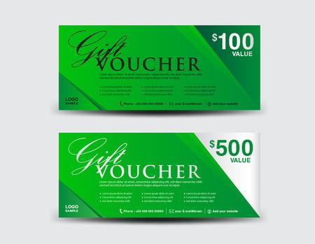 Green Cadeaubon sjabloon, coupon ontwerp, ticket, Discount sjabloon, reclame Stock Illustratie