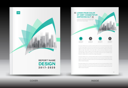 Annual report brochure flyer template, Green cover design, business flyer template, book, booklet, newspaper, catalog Illustration