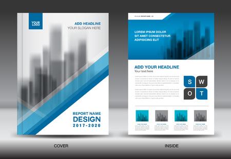 Annual report brochure flyer template, Blue cover design, business flyer template, book, magazine ads, vector illustration Ilustração