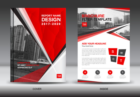 Red Color Scheme with City Background Business Book Cover Design Template in A4, Business Brochure flyer, Annual Report, polygon vector