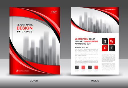 Brochure template layout, Red cover design, annual report, magazine ads, flyer, advertisement,  booklet in A4 Illustration