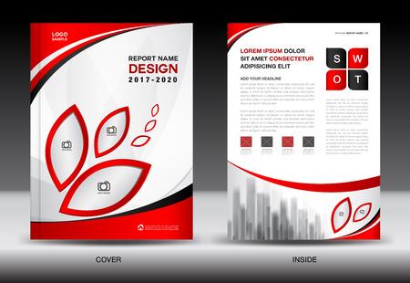 Brochure sjabloon layout, Red cover ontwerp, jaarverslag, tijdschrift advertenties, flyer, reclame, Boek in A4