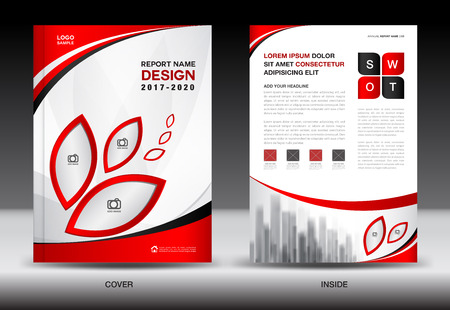 Brochure template layout, Red cover design, annual report, magazine ads, flyer, advertisement, Book in A4
