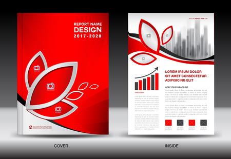 Brochure sjabloon lay-out, rode kaft ontwerp, jaarverslag, tijdschrift advertenties, flyer, advertentie, brochure, afdrukken, boek in A4 Stockfoto - 75298098