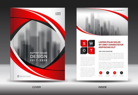 Brochure sjabloon lay-out, rode kaft ontwerp, jaarverslag, tijdschrift advertenties, flyer, boekje in A4