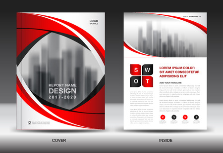 Brochure template layout, Red cover design, annual report, magazine ads, flyer, booklet in A4