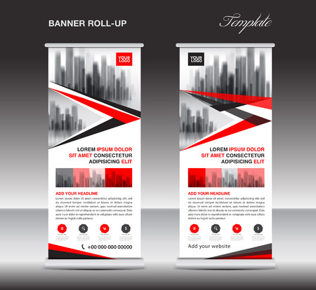 rollup: Red Roll up banner, stand template, poster, display, advertisement, banner design, polygon vector, business layout, city