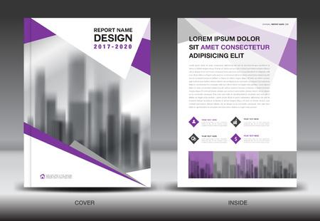 Jaarverslag brochure folder sjabloon, paarse dekking ontwerp, business, boek, boekje, nieuwsbrief, veelhoek achtergrond Stock Illustratie
