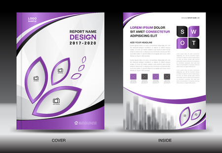 Brochure template layout, Purple cover design, annual report, magazine ads, flyer, advertisement, Book in A4