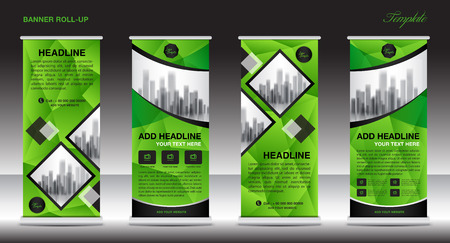 Green Roll Up Banner template and info graphics, stand design, advertisement, display, business flyer, vector illustration Illustration