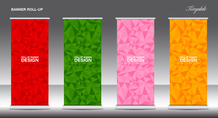 Roll Up Banner template vector illustration, polygon background ,standy design, display, advertisement Illustration