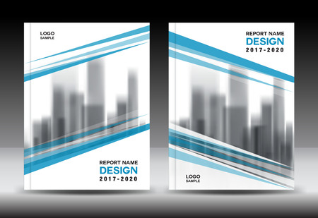 Blue cover design, Annual report template, business brochure flyer, book in a4