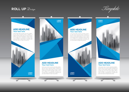 Blue Business Roll Up Banner flat design template, polygon background, banner, stand, display, advertisement, j-flag, pull up, x-banner, flag-banner,  abstract geometric, vector illustration
