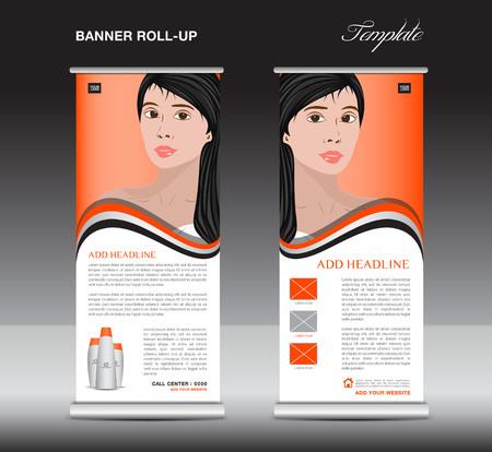 Orange Roll up banner template, cosmetics stand design, business brochure flyer, advertisement, print ads, media Illustration