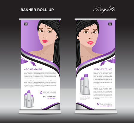 Purple Roll up banner template, cosmetics stand design, business brochure flyer, advertisement, print ads, media Illustration