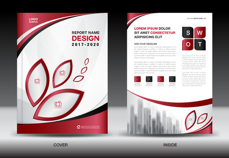Business Brochure flyer templater, Red cover design, annual report, Book, Magazine ads, company Profile, layout in A4 size, poster, catalog, leaflet, newsletter, Advertisement, presentation, infographics, leaf icon