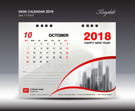 Desk Calendar for 2018 Year, October 2018, Week starts Monday, Stationery design Illusztráció