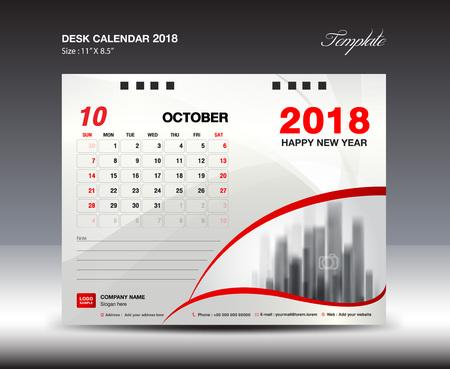 Desk Calendar for 2018 Year, October 2018, Week starts Monday, Stationery design Illustration