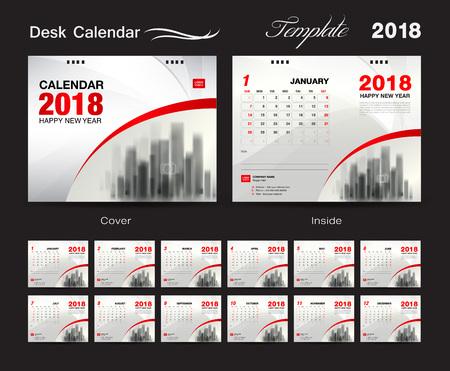 Set Desk Calendar 2018 Template Design Red Cover Set Of 12