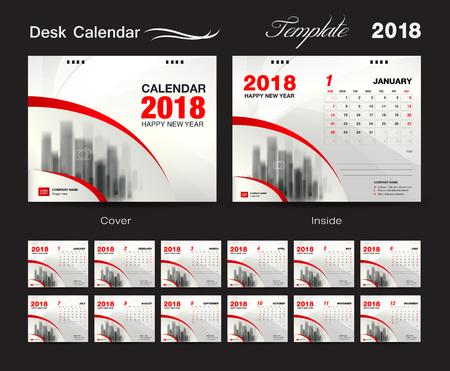 Desk Calendar 2018 template design, red cover, Set of 12 Months, Business calendar creative Illustration