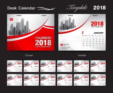 Desk Calendar 2018 template design, red cover, Set of 12 Months, Business calendar creative Vectores