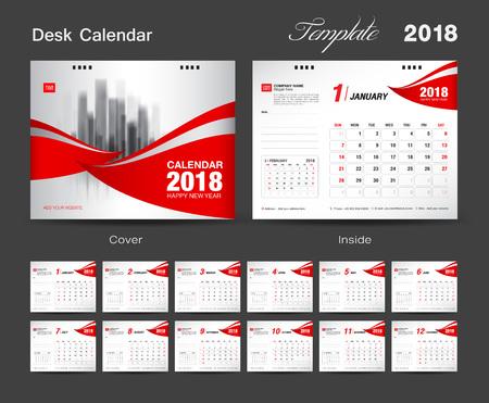책상 달력 2018 년판 템플릿 디자인, 빨간 표지, 12 개월 세트, 주간 시작 일요일