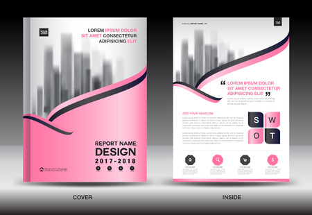 Annual report brochure flyer template, Pink cover design, business advertisement, magazine ads, catalog vector layout in A4 size
