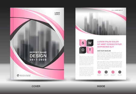 magazine design: Annual report brochure flyer template, Pink cover design, business advertisement, magazine ads, catalog vector layout in A4 size
