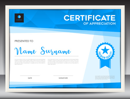 Certificate template vector illustration, diploma layout in a4 size, business flyer design, advertisement, printing, achievement, Appreciation, corporate event, blue polygon background Vettoriali