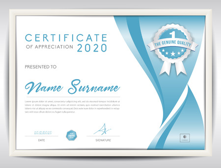certificate template vector illustration, diploma layout in a4 size, business flyer design, advertisement, printing, achievement, Appreciation, corporate event, blue abstract background Vettoriali